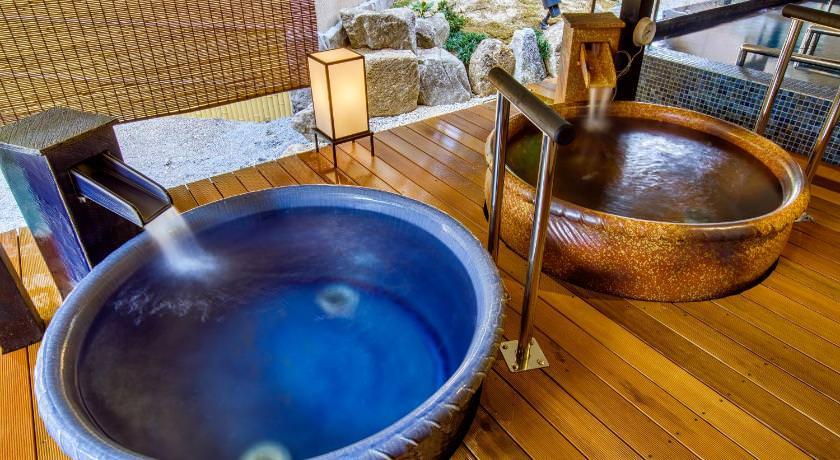 阿智村 昼神溫泉 天心溫泉飯店。浴池設施介紹:三種特色浴湯超奢侈享受!