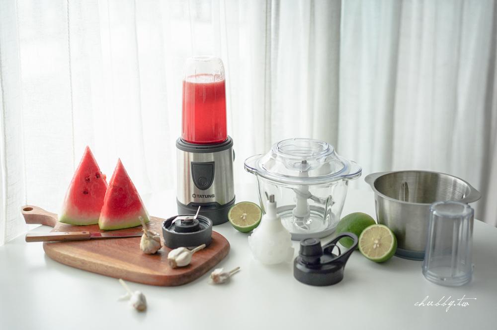 大同多功能食物調理機評測:果汁機+食物處理機+研磨杯+剝蒜器四機合體,磨攪榨剝都難不倒!